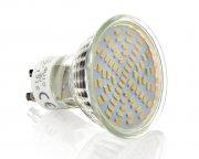 70SMD GU10 Lampe Strahler Weiß mit Schutzglas