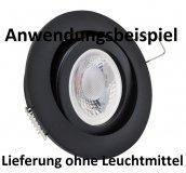 E44577 Alu Einbaustrahler schwarz Rund Klickverschluss